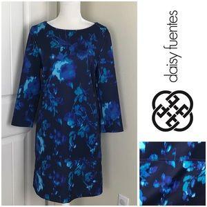 Daisy Fuentes Shift Floral Dress 3/4 Sleeves Sz L